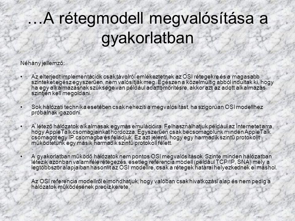 …A rétegmodell megvalósítása a gyakorlatban