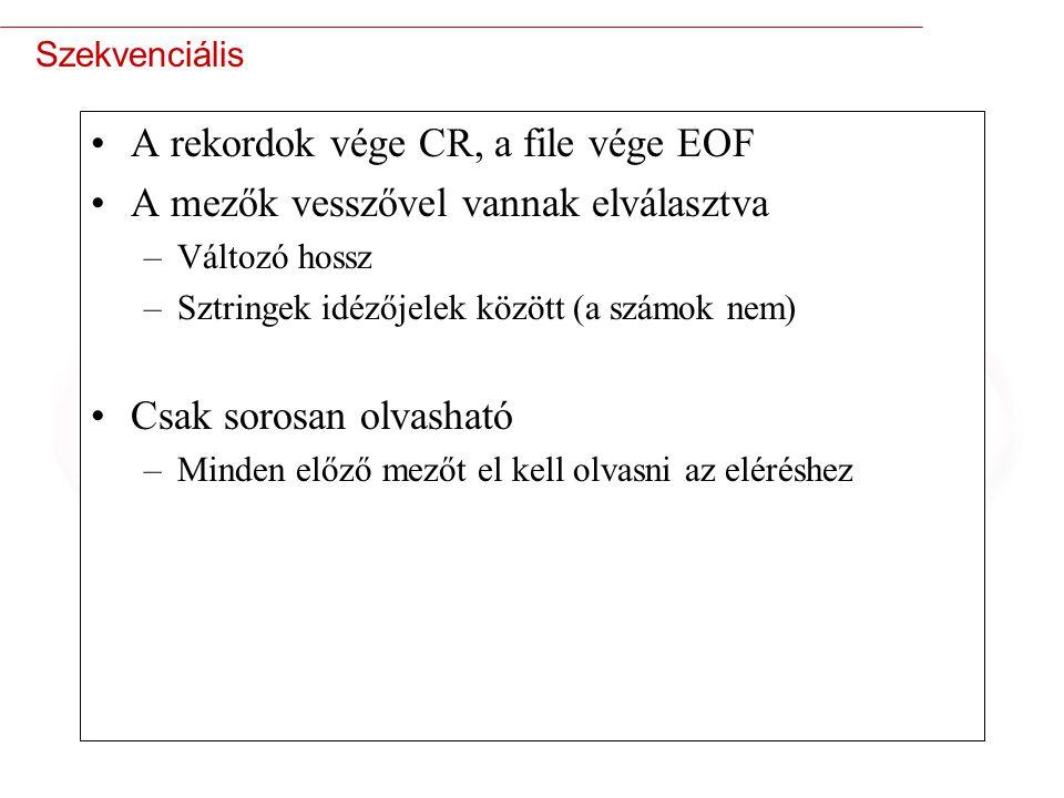 A rekordok vége CR, a file vége EOF