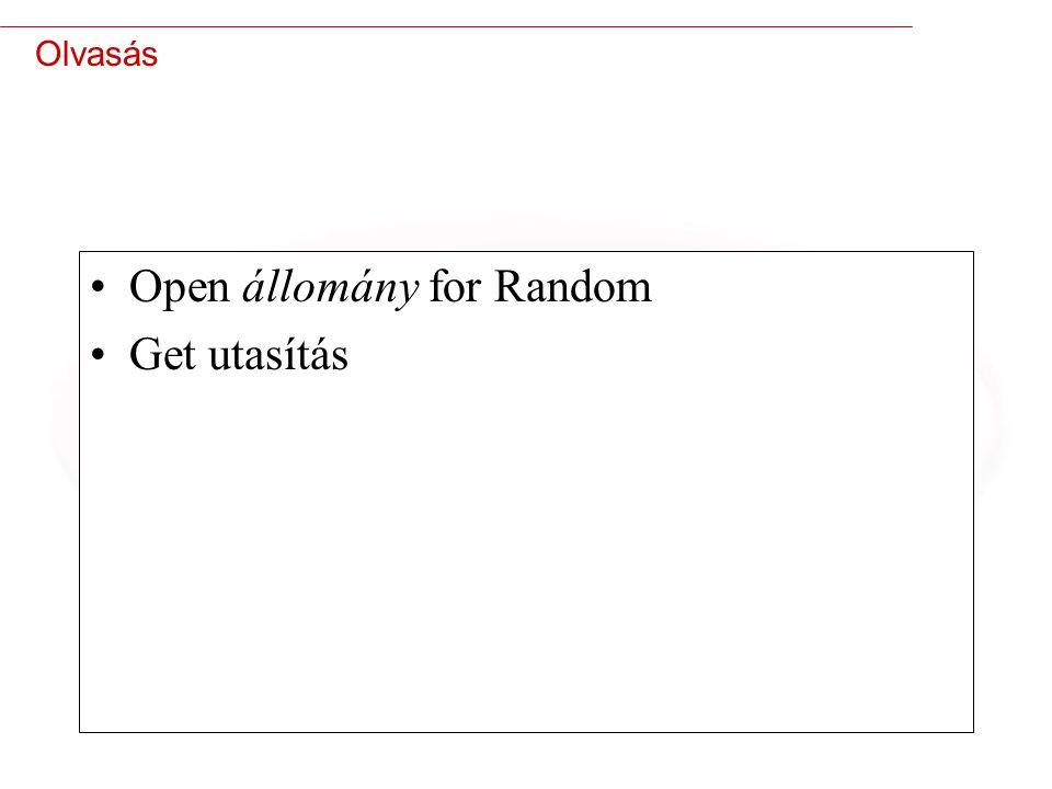 Open állomány for Random Get utasítás