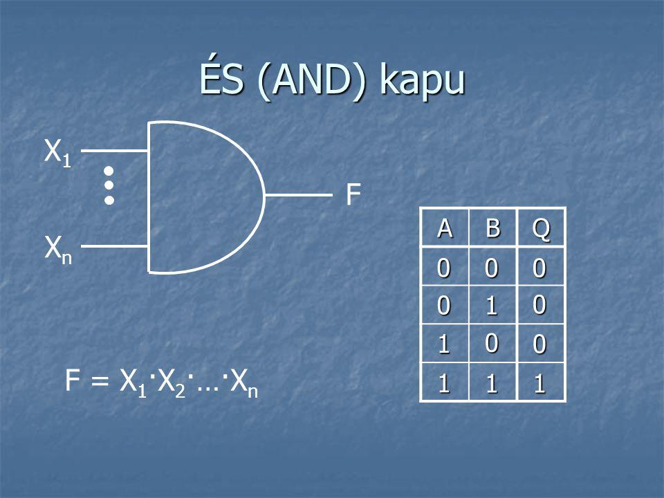 ÉS (AND) kapu X1 F A B Q Xn 1 1 F = X1·X2·…·Xn 1 1 1