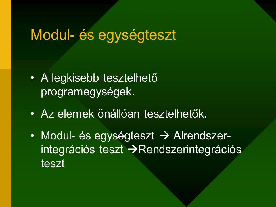 Modul- és egységteszt A legkisebb tesztelhető programegységek.