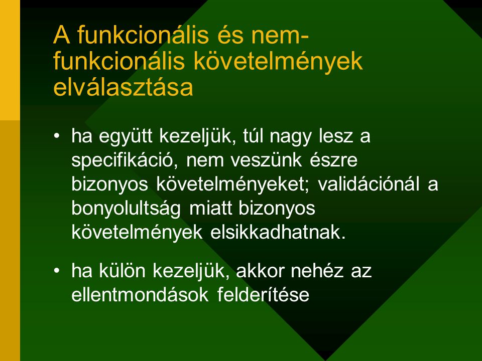 A funkcionális és nem-funkcionális követelmények elválasztása