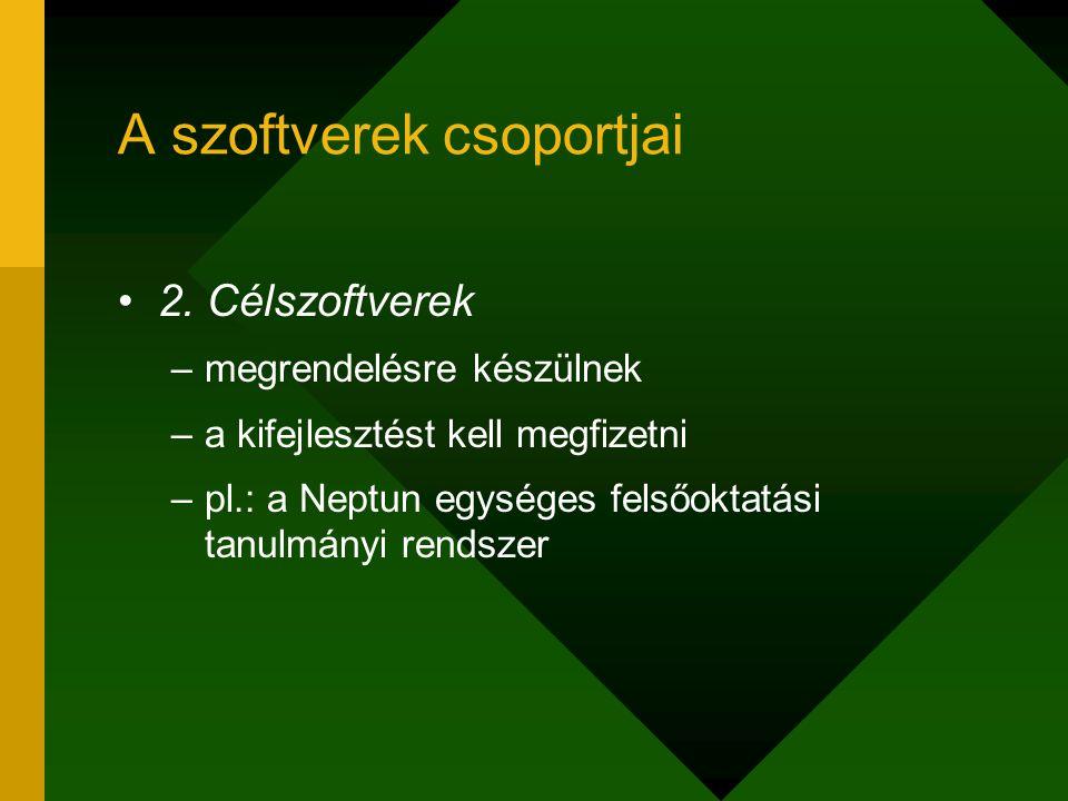 A szoftverek csoportjai