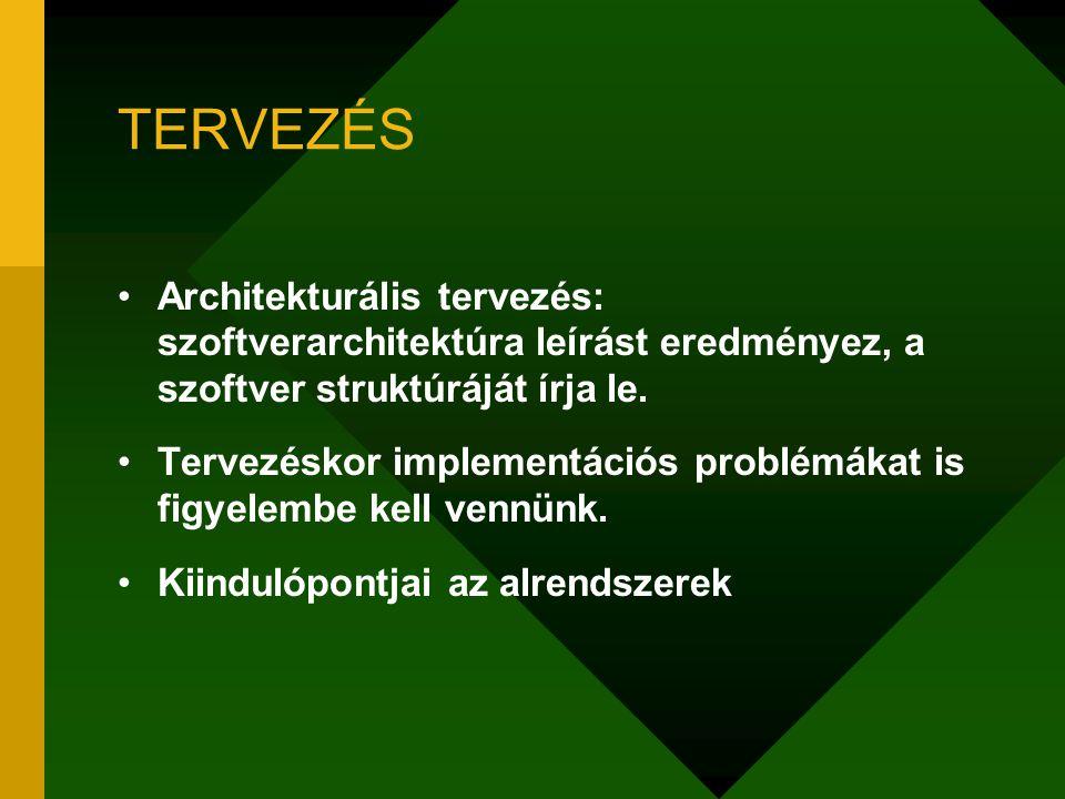 TERVEZÉS Architekturális tervezés: szoftverarchitektúra leírást eredményez, a szoftver struktúráját írja le.