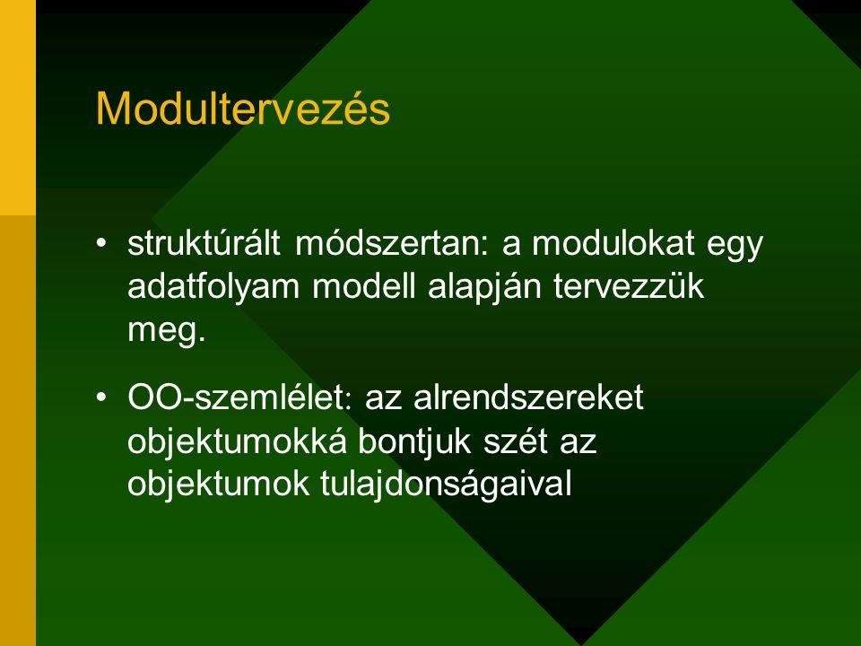 Modultervezés struktúrált módszertan: a modulokat egy adatfolyam modell alapján tervezzük meg.