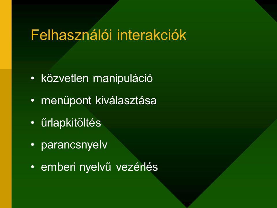 Felhasználói interakciók