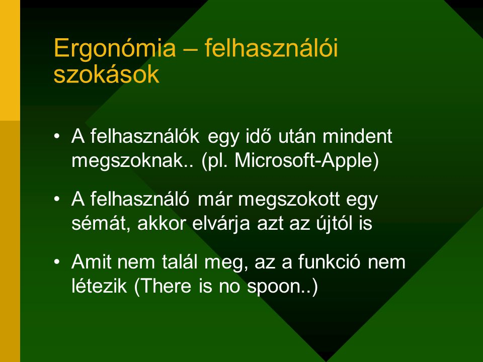 Ergonómia – felhasználói szokások