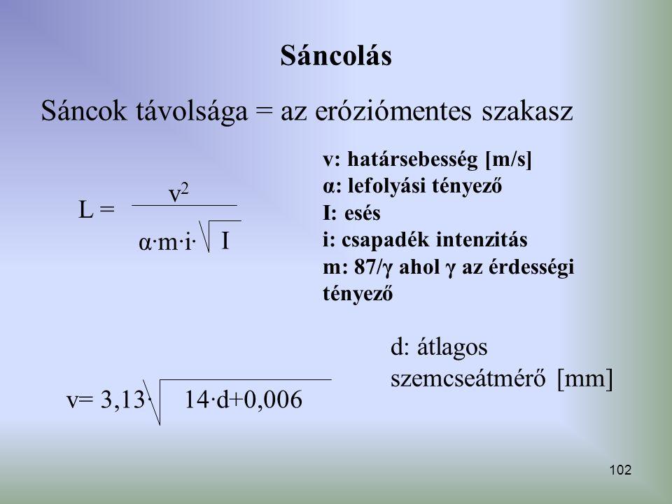 Sáncok távolsága = az eróziómentes szakasz