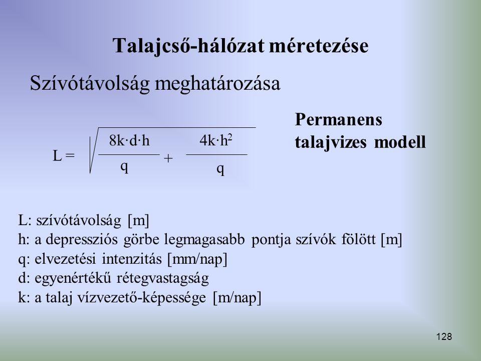 Talajcső-hálózat méretezése