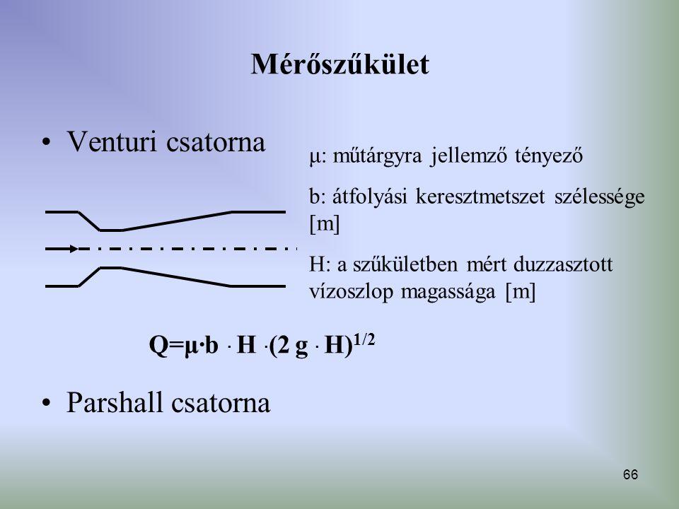Mérőszűkület Venturi csatorna Parshall csatorna