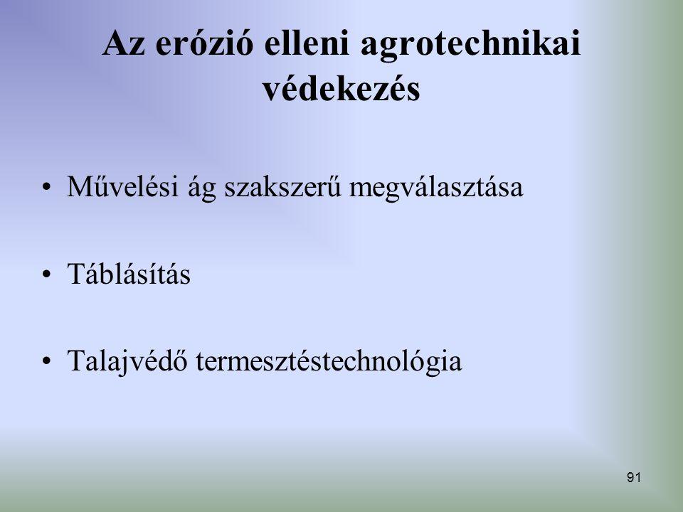 Az erózió elleni agrotechnikai védekezés
