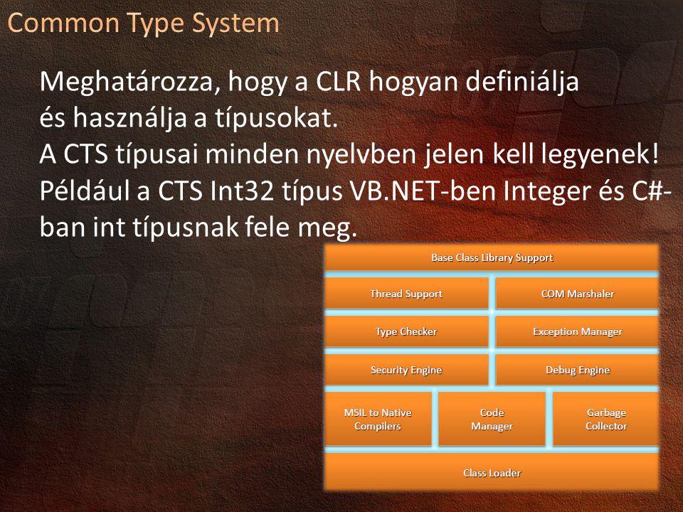Common Type System Meghatározza, hogy a CLR hogyan definiálja. és használja a típusokat.