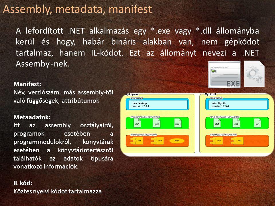 Assembly, metadata, manifest