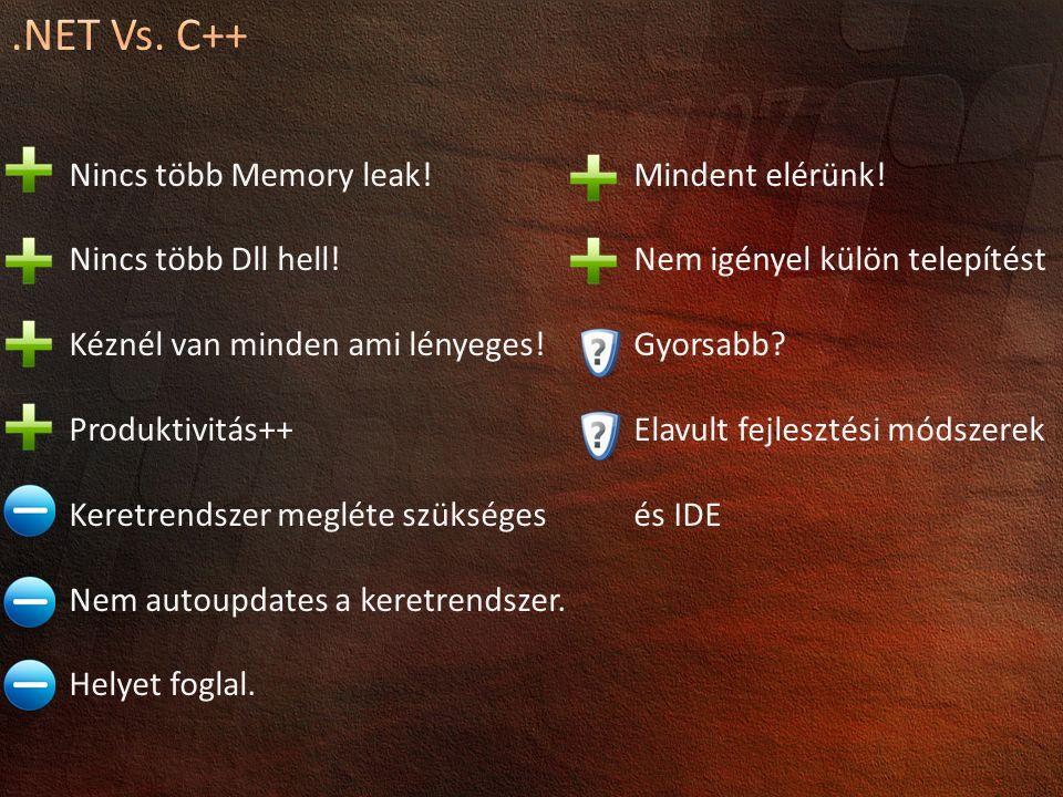.NET Vs. C++ Nincs több Memory leak! Nincs több Dll hell!