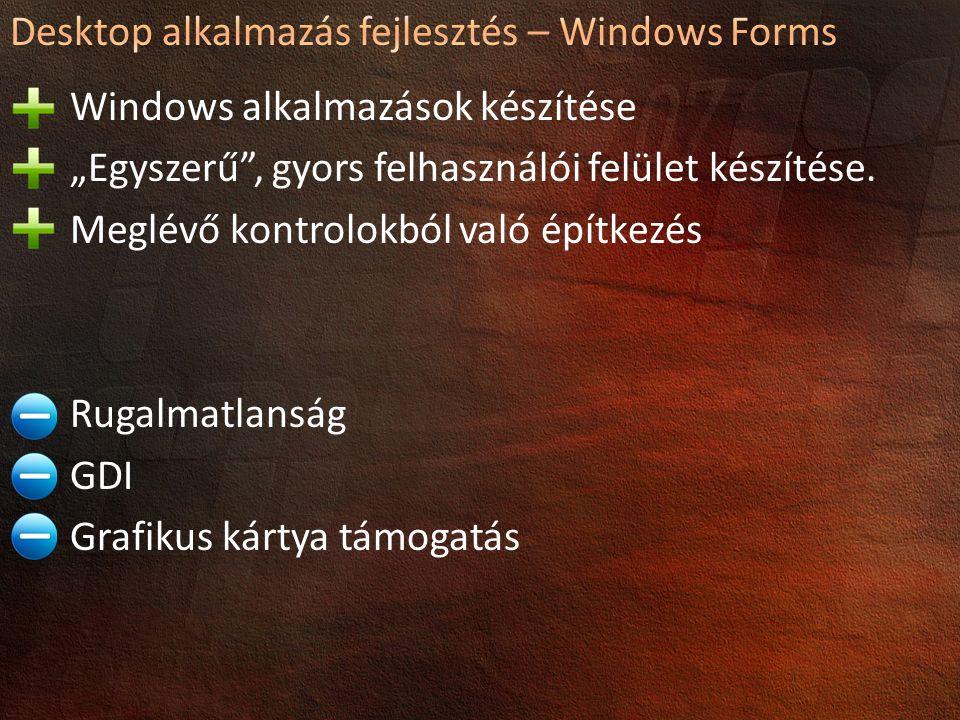 Desktop alkalmazás fejlesztés – Windows Forms