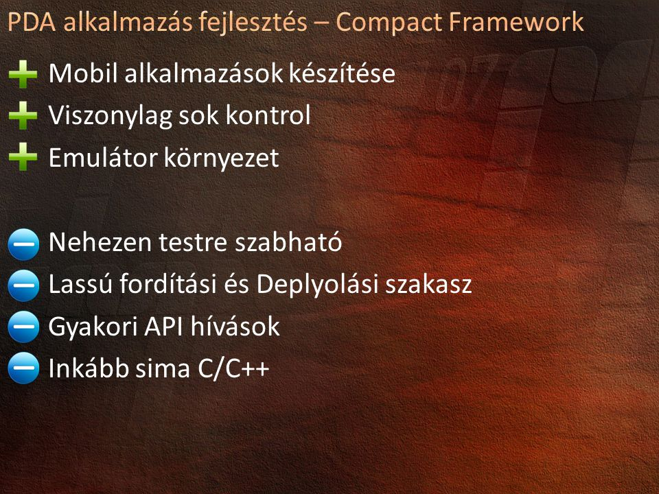 PDA alkalmazás fejlesztés – Compact Framework