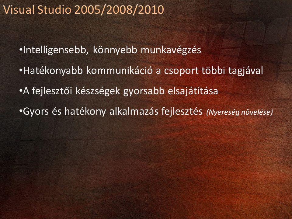 Visual Studio 2005/2008/2010 Intelligensebb, könnyebb munkavégzés