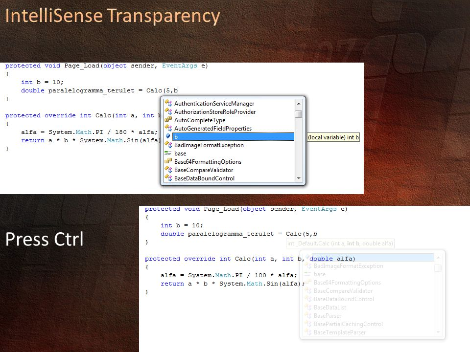 IntelliSense Transparency