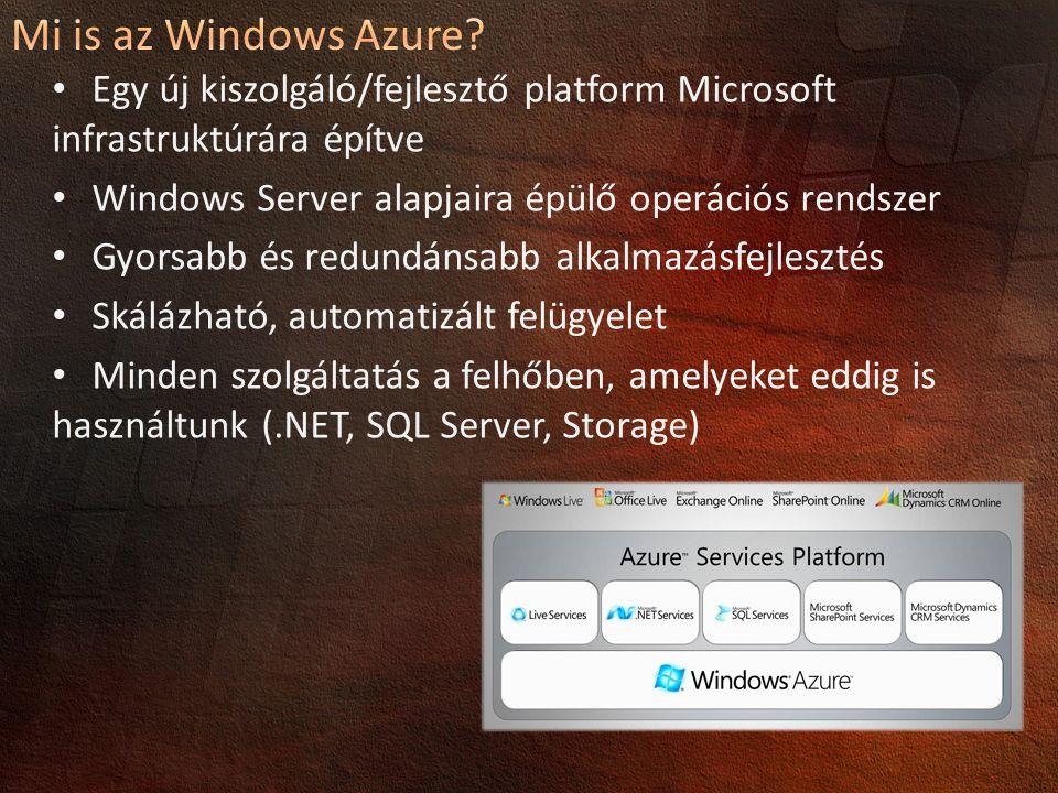 Mi is az Windows Azure 4/4/2017 3:55 PM. Egy új kiszolgáló/fejlesztő platform Microsoft infrastruktúrára építve.