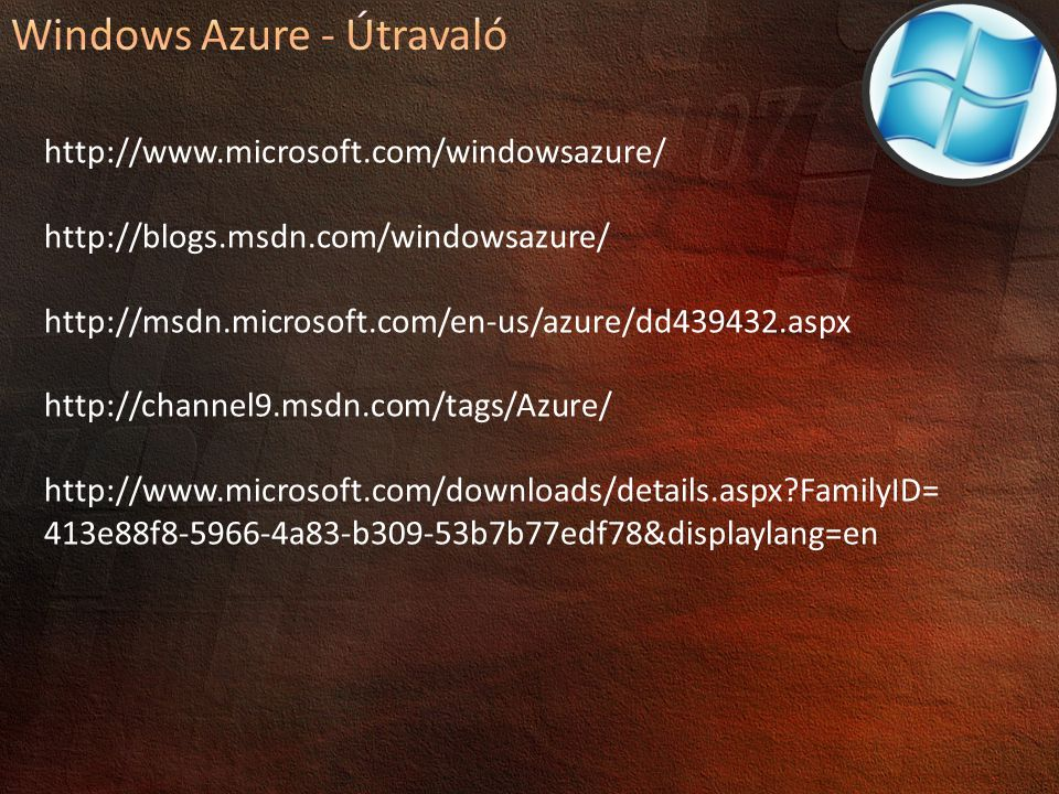 Windows Azure - Útravaló