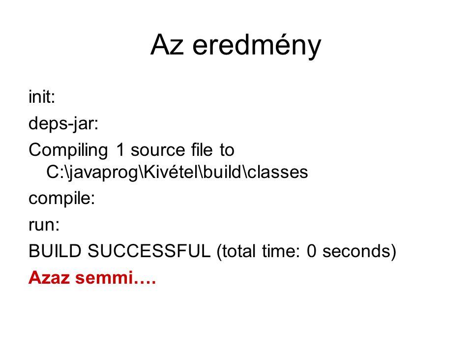 Az eredmény init: deps-jar: