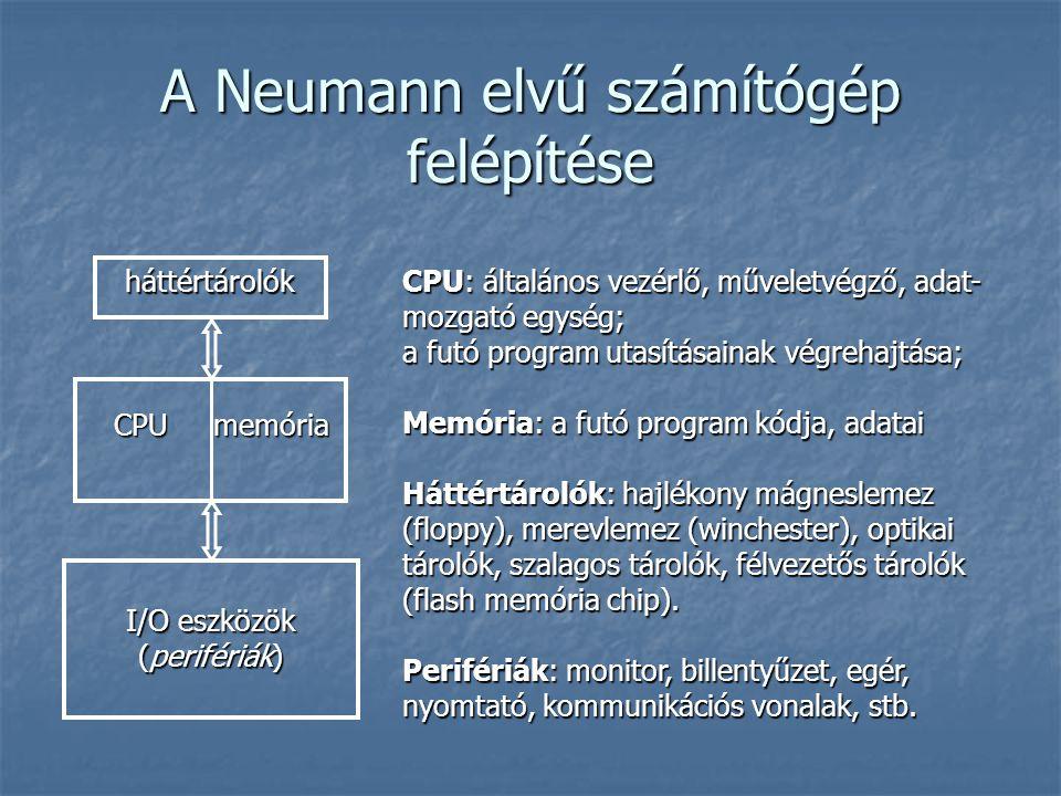 A Neumann elvű számítógép felépítése