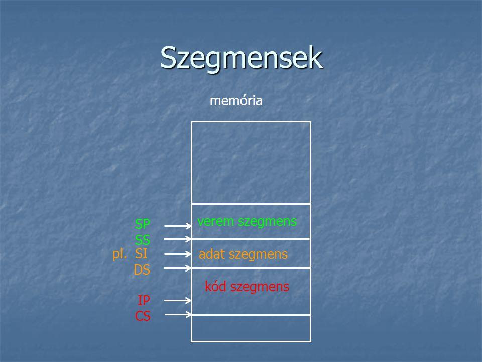 Szegmensek memória verem szegmens SP SS pl. SI adat szegmens DS