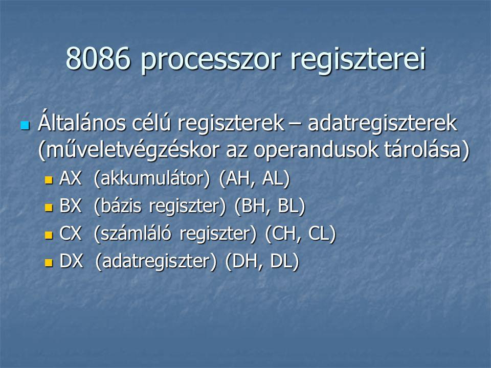8086 processzor regiszterei