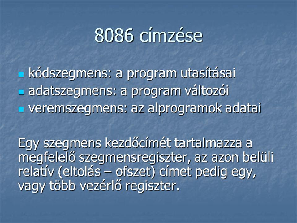 8086 címzése kódszegmens: a program utasításai