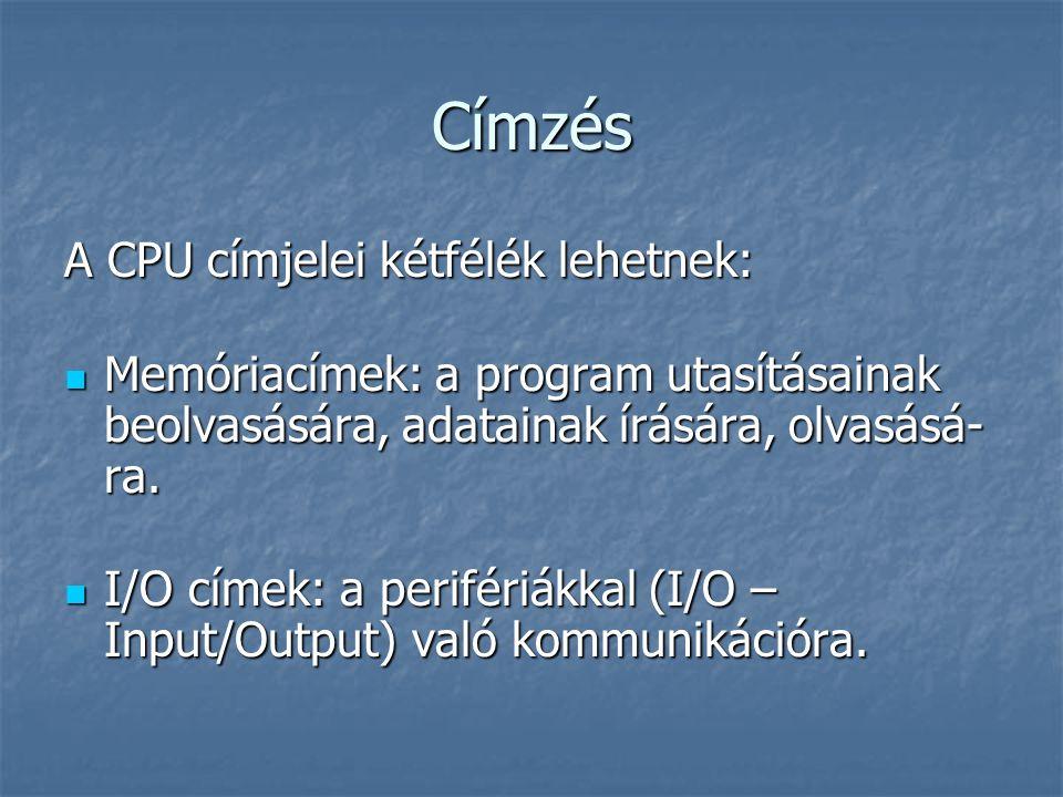 Címzés A CPU címjelei kétfélék lehetnek: