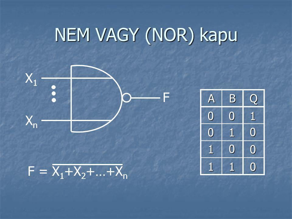 NEM VAGY (NOR) kapu X1 F A B Q 1 Xn 1 1 1 1 F = X1+X2+…+Xn