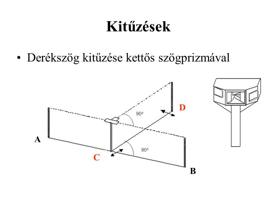 Kitűzések Derékszög kitűzése kettős szögprizmával B C A 90o D