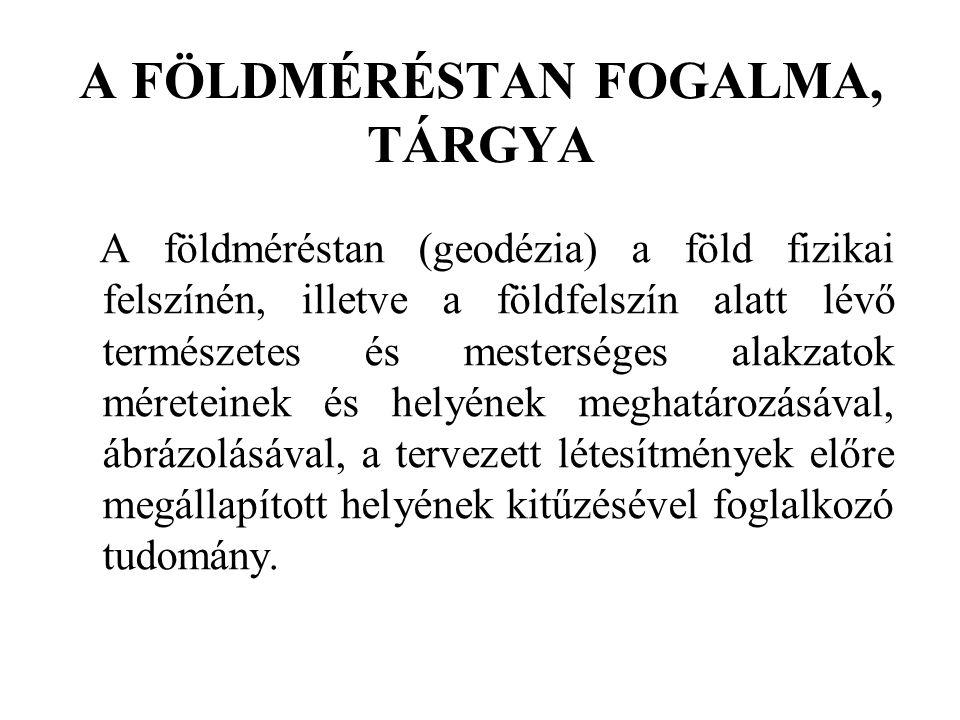 A FÖLDMÉRÉSTAN FOGALMA, TÁRGYA