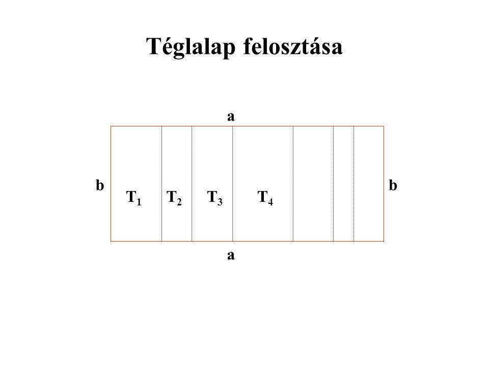 Téglalap felosztása b a T1 T4 T3 T2