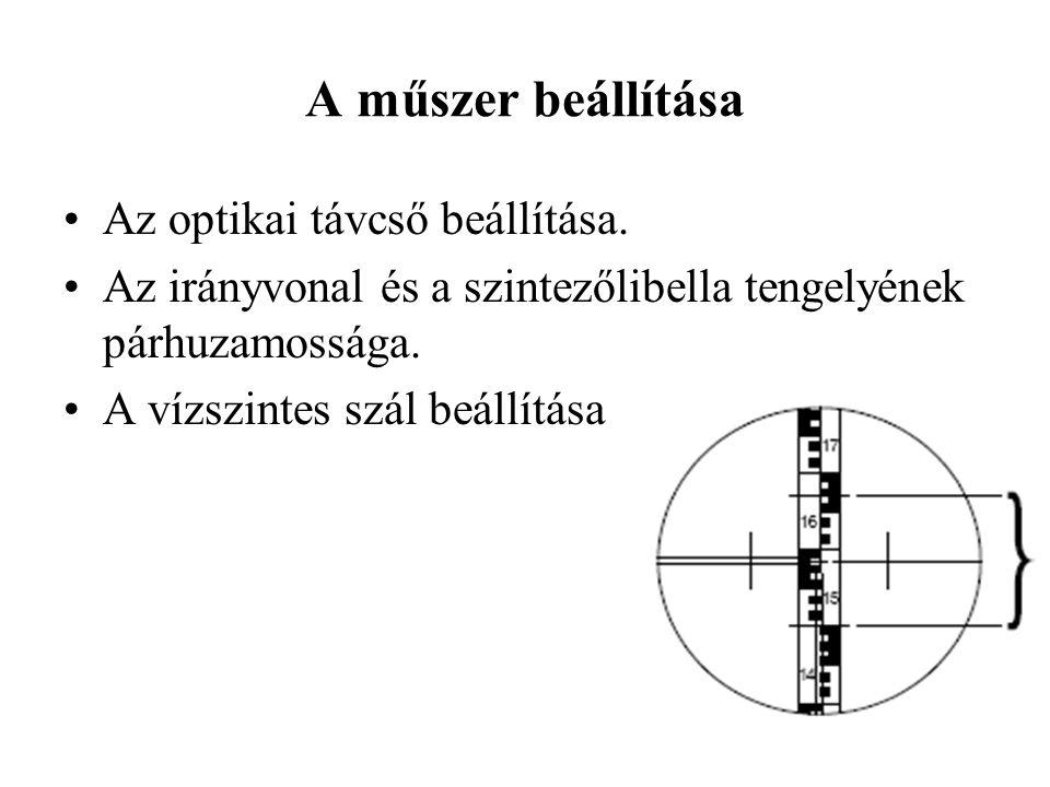 A műszer beállítása Az optikai távcső beállítása.