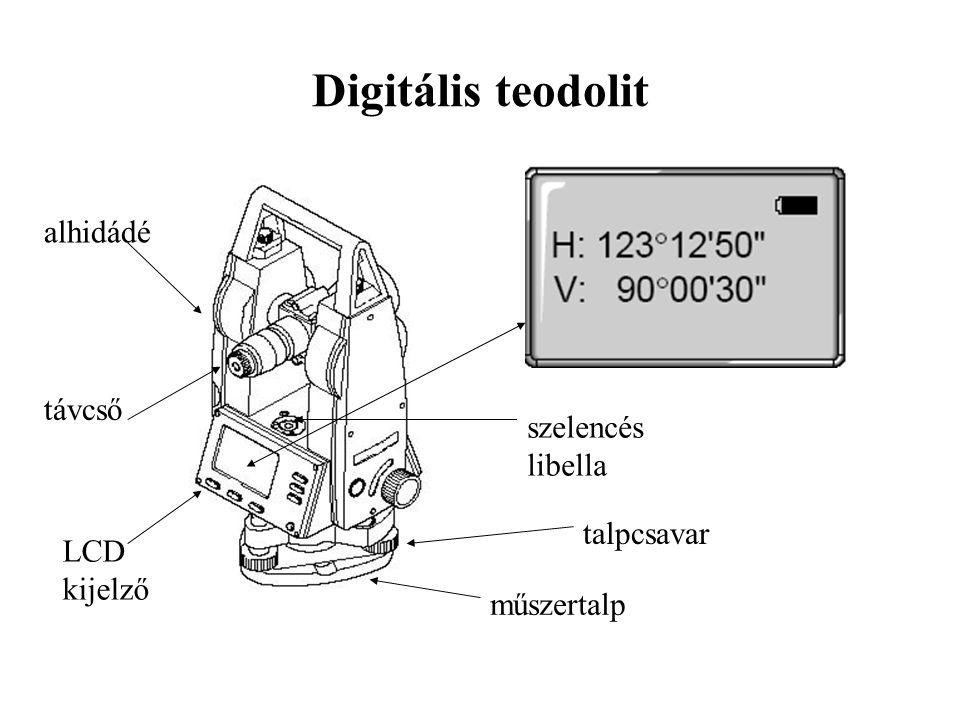Digitális teodolit alhidádé távcső szelencés libella talpcsavar