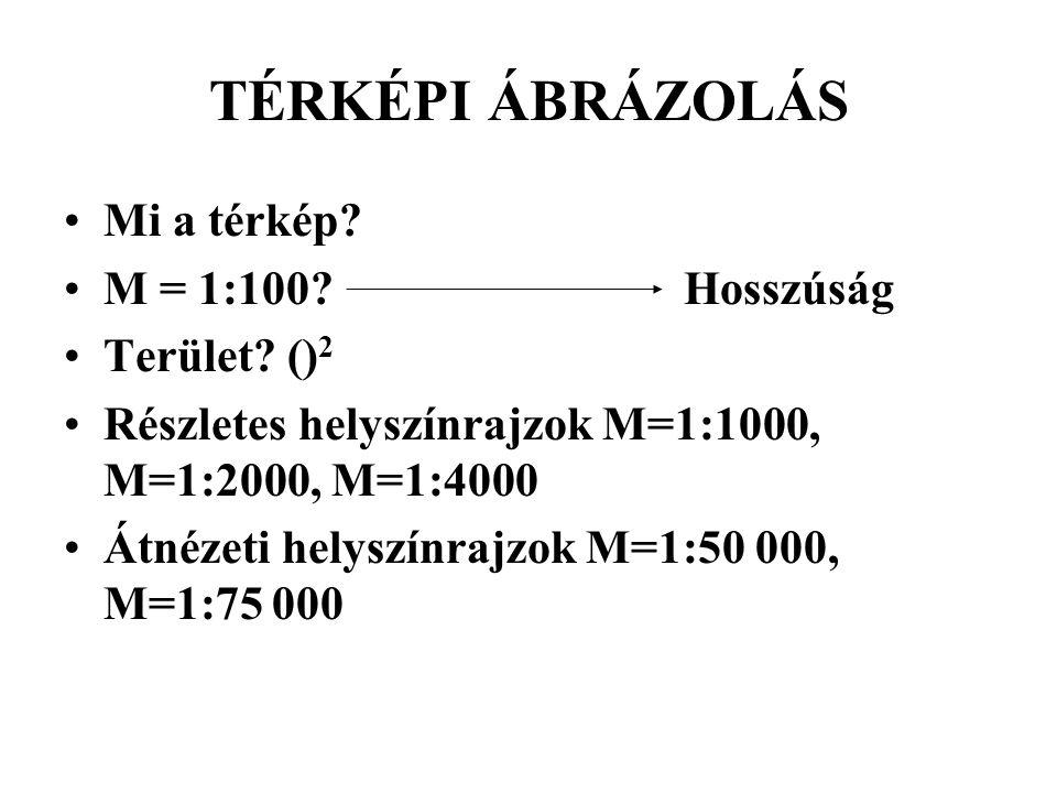 TÉRKÉPI ÁBRÁZOLÁS Mi a térkép M = 1:100 Hosszúság Terület ()2