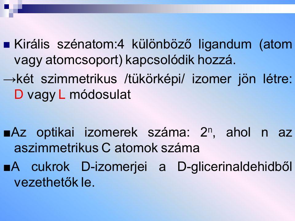 Királis szénatom:4 különböző ligandum (atom vagy atomcsoport) kapcsolódik hozzá.