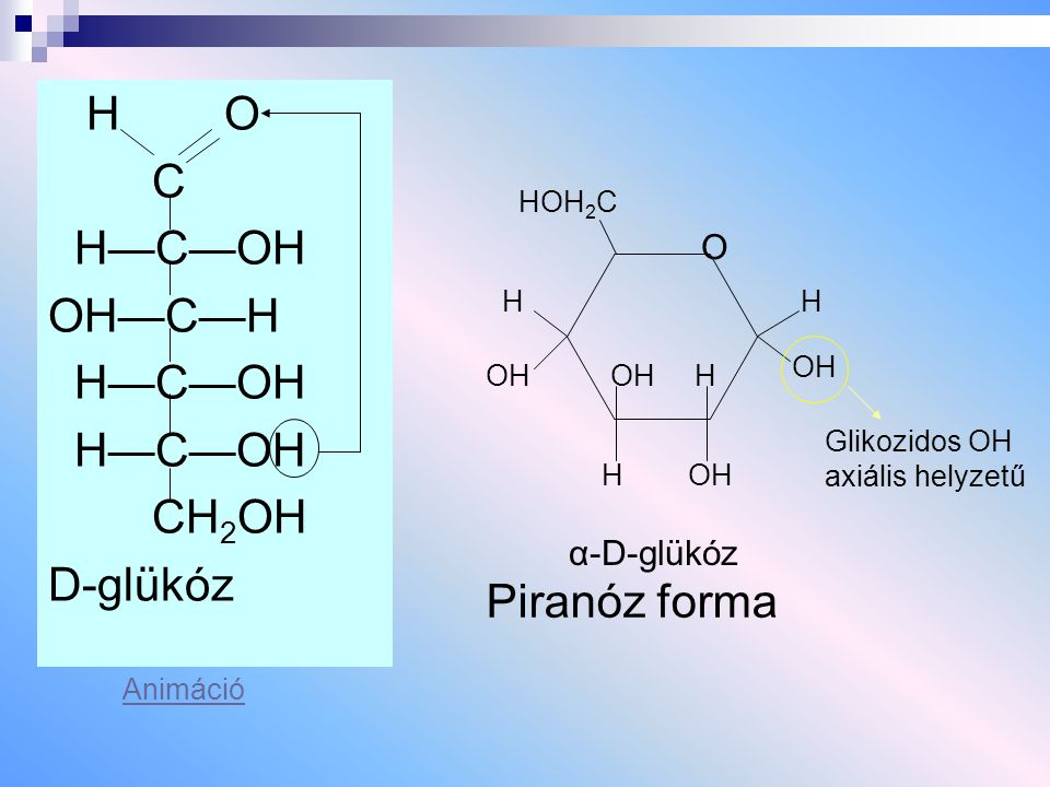 H O C H—C—OH OH—C—H CH2OH D-glükóz Piranóz forma O α-D-glükóz HOH2C H