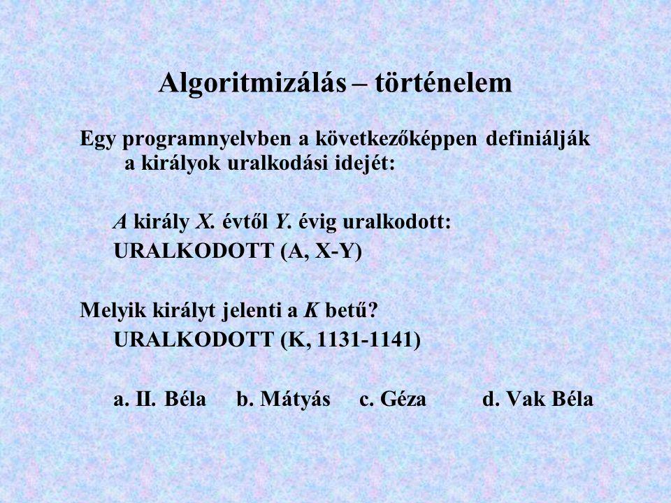 Algoritmizálás – történelem