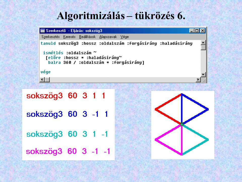 Algoritmizálás – tükrözés 6.
