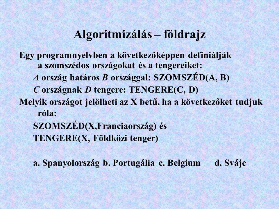 Algoritmizálás – földrajz