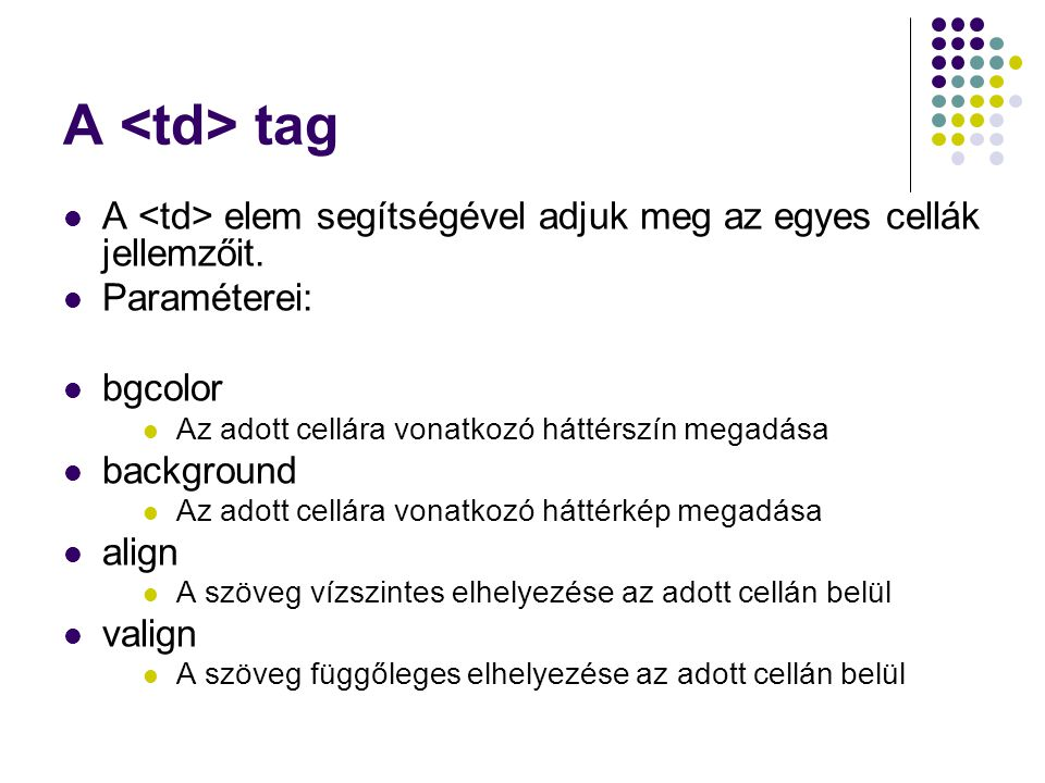 A <td> tag A <td> elem segítségével adjuk meg az egyes cellák jellemzőit. Paraméterei: bgcolor. Az adott cellára vonatkozó háttérszín megadása.