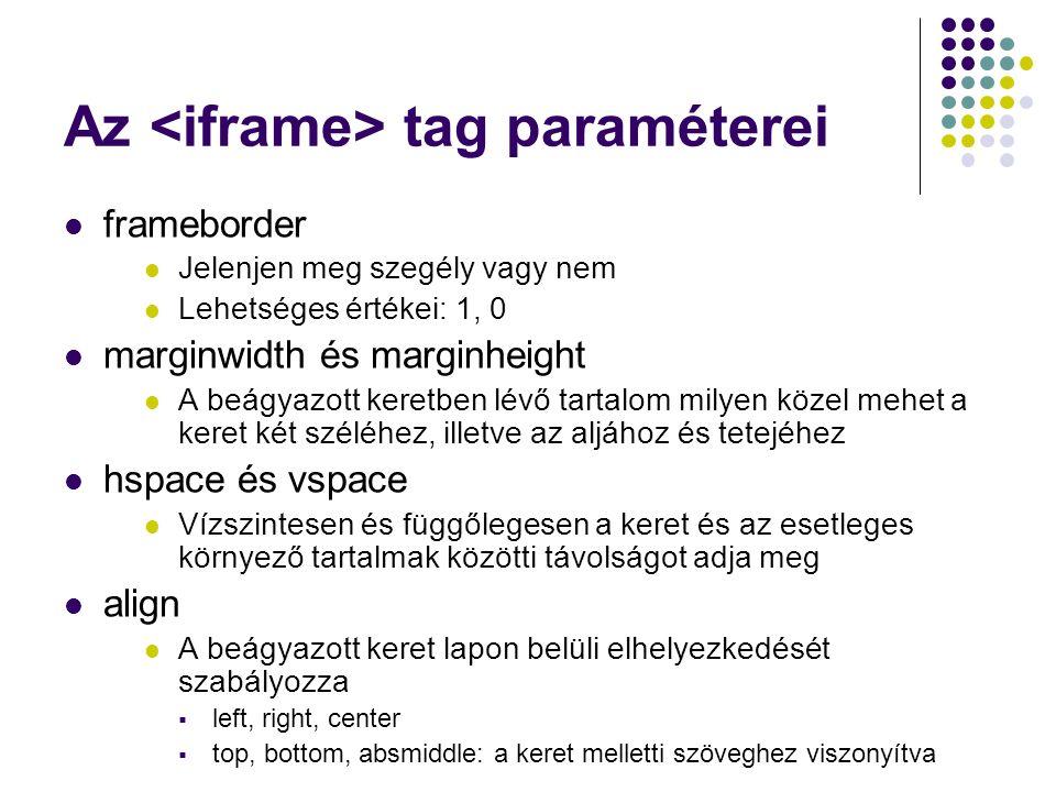 Az <iframe> tag paraméterei