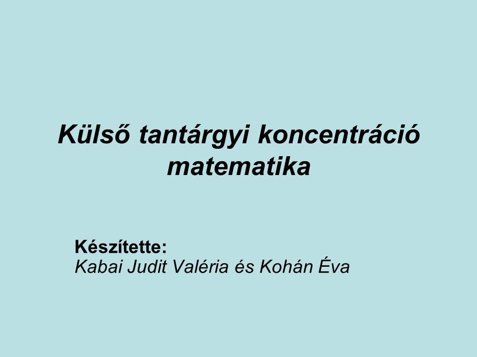 Külső tantárgyi koncentráció matematika