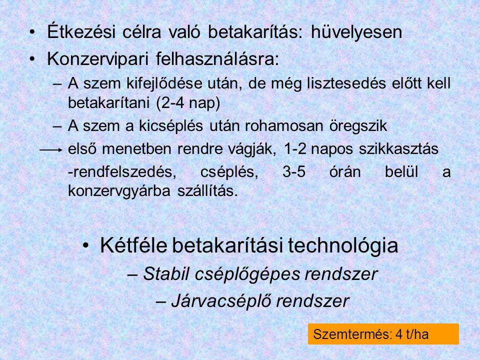 Kétféle betakarítási technológia