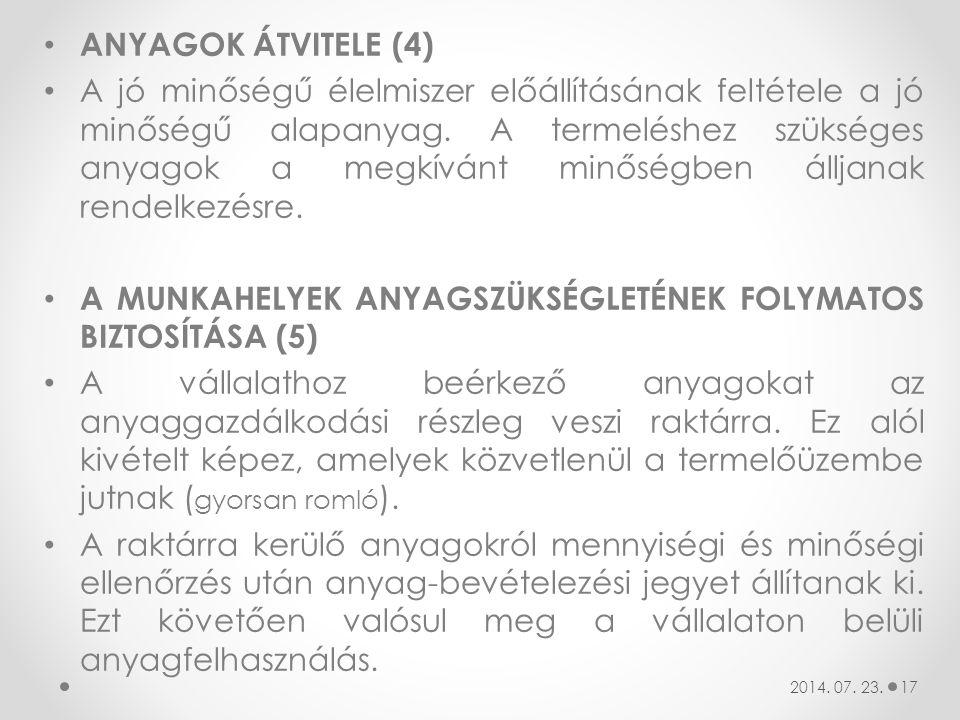 A MUNKAHELYEK ANYAGSZÜKSÉGLETÉNEK FOLYMATOS BIZTOSÍTÁSA (5)