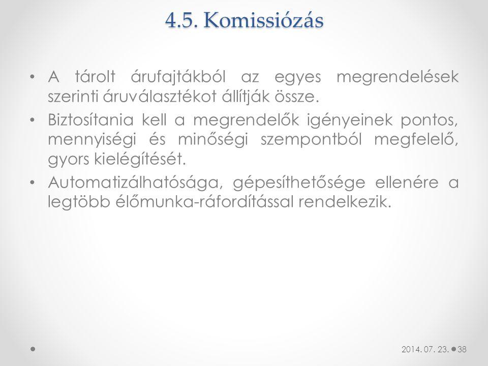 4.5. Komissiózás A tárolt árufajtákból az egyes megrendelések szerinti áruválasztékot állítják össze.