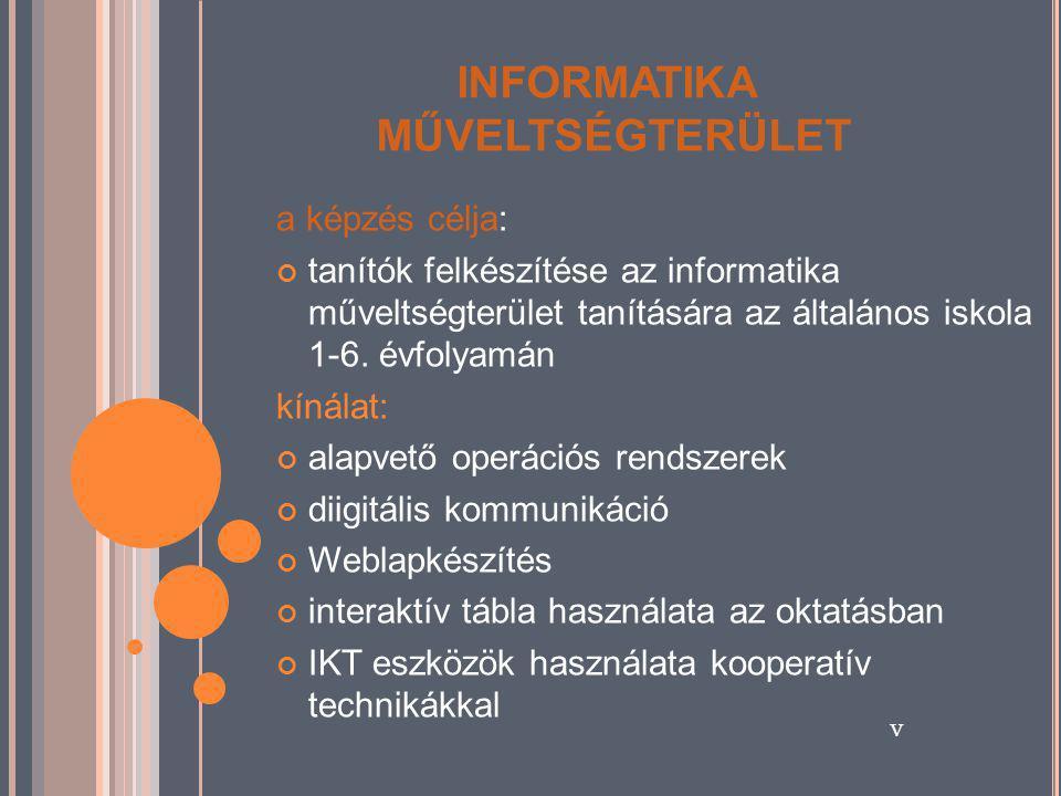 INFORMATIKA MŰVELTSÉGTERÜLET