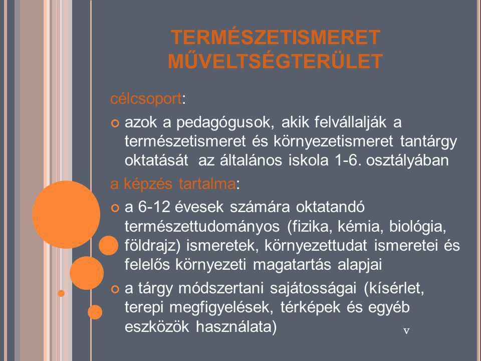 TERMÉSZETISMERET MŰVELTSÉGTERÜLET